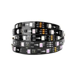 9W/m DIGITAL LED STREIFE 30SMD/m RGB 12V Programmierbar PCB Schwarz WS2811 1m GL4329