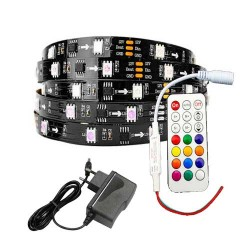 SET 2m 9W/m DIGITAL LED STREIFE 30SMD/m RGB 12V Programmierbar PCB Schwarz WS2811 GL4329S2