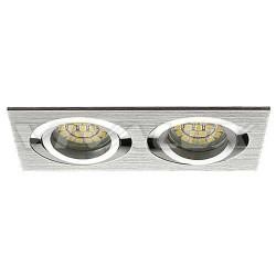 EINBAUSPOT KÖRPER DOPPELT 172*92mm für LED MR16 / LED GU10 Silber Gebürstet VL3880