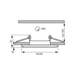 EINBAUSPOT KÖRPER DESIGN CRYSTAL 90*25mm für LED GU10 Quad Schwarz VL3872
