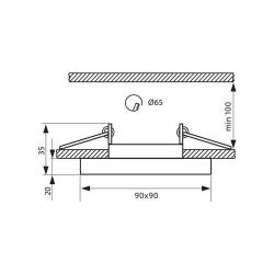EINBAUSPOT KÖRPER DESIGN CRYSTAL 90*35mm für LED GU10 Quad Schwarz VL3876