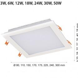 3W LED Einbaumodul 230V 3 JAHRE GARANTIE QUAD IP44 Kalt- Neutral-, Warmweiß GL2116/GL2117/GL2126