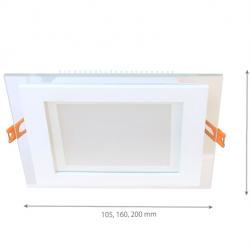 6W LED Einbauleuchte GLAS PREMIUM 230V Quad Kalt-, Neutral-, Warmweiß GL2157
