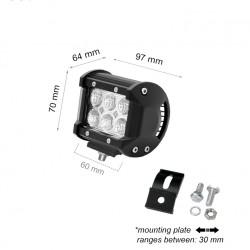18W LED AUTO SCHEINWERFER LBL 12V BAR Kaltweiß GL9300