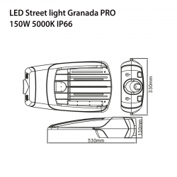 150W LED Straßenlampe GRANADA PRO CREE IK10 IP66 7 JAHRE GARANTIE TAGESLICHT GL9139