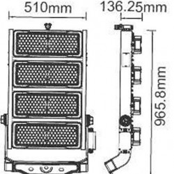 1000W LED Strahler SAMSUNG LED MeanWell HI LUMEN IP65 SPORT PRO 120° Neutralweiß UL0498