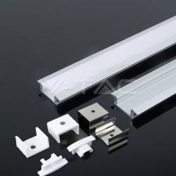 2 Meter SET Alu Profil MICRO EINBAU eloxiert Grau UL3350