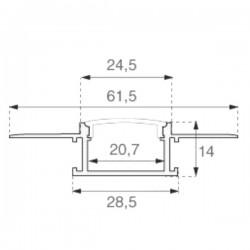 2 Meter SET Alu Profil PRO SPECIAL Unterputz Aluminium UL3359