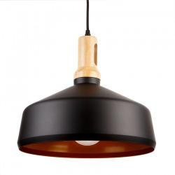 Design Holz Pendelleuchte für LED E27 Hängeleuchte Schwarz UL3766