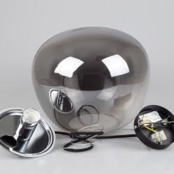 Design Glas Pendelleuchte für LED E27 Grau 3 Draht/Kabel Hängeleuchte UL3887
