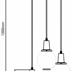Trio Glas Pendelleuchte LED E27 Design mit Glas Lampenschirm Bernstein UL3926