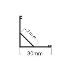 2 Meter SET LED Profil 45° 2m 30x30 BREIT Grau APN208LX